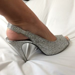 Silver prom heels (3 1/2 inches)